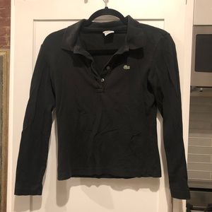 Lacoste long sleeve black polo